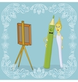 Pencil brush and easel vector image