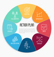 action plan circle diagram with thin line icons vector image