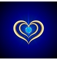 abstract bright blue background with golden hearts vector image vector image