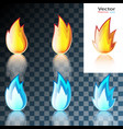abstract red and blue flame icon vector image vector image