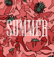 background of red poppies with the word summer vector image vector image