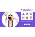 banner secretary working on vector image