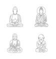 buddha set outline style vector image
