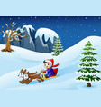 cartoon boy riding sled on vector image vector image
