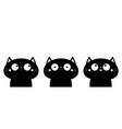 cat head face icon set cute cartoon funny pet vector image vector image