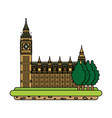 color london clock tower with trees landscape vector image