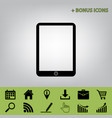 computer tablet sign black icon at gray vector image vector image