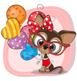 cute cartoon puppy with balloons vector image vector image
