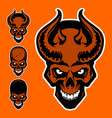 demons skull with horns vector image