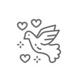dove peace love bird pigeon pacifism line vector image
