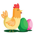 easter eggs and chicken web on a white background vector image vector image