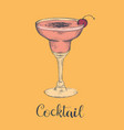 exotic cocktail margarita cherry sketch cocktail vector image vector image
