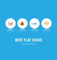flat icon nature set of shark cancer conch and vector image