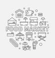 food market circular symbol street food vector image