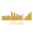 Fukuoka City skyline golden silhouette vector image vector image