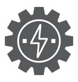 gear with lightning glyph icon ecology and energy vector image vector image