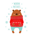 greeting card with cute bear in sweater vector image