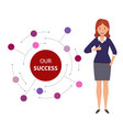 happy businesswoman shows thumb up on the vector image