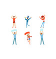 happy fans cheering for their team set cheerful vector image