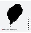 High detailed map of Sao Tome and Principe with vector image