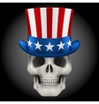 Human skull with Uncle Sam hat on head vector image