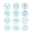 line icons zodiac signs set colorful vector image vector image