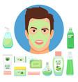 male beauty treatments with organic aloe vera vector image
