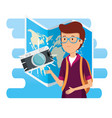 man wearing glasses with camera and global map vector image vector image