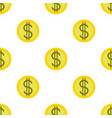 money or finance pattern with dollar coins vector image