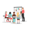 people at business training look at presentation vector image vector image