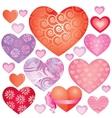 Pink hearts set vector image vector image
