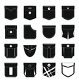 pocket types icons set simple style vector image