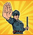 police officer stop gesture vector image