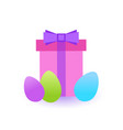 present box with colorful easter eggs icon vector image vector image