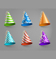 realistic party hats set isolated on vector image