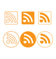 rss icons of round and square shapes orange vector image vector image