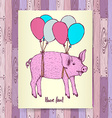 Sketch pig flying with baloons vector image vector image