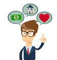 successful business man dreaming about house vector image vector image