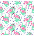 summer pop art flamingo and palm tropic branches vector image