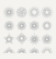 sunburst retro icon set line drawing of sunshine vector image