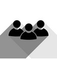 team work sign black icon with two flat vector image vector image