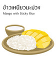 thai food mango with sticky rice vector image vector image