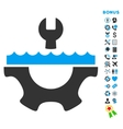 Water Service Flat Icon with Bonus vector image vector image