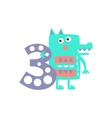 Wolf Standing Next To Number Three Stylized Funky vector image vector image