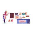 woman chef and bakery shop interior set vector image
