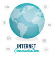 world planet with internet connection icons vector image vector image