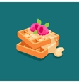 Belgian waffles with raspberry sauce poured vector image