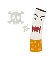 cigarette with a smoke formed skull dead vector image