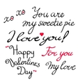 Valentine s Day lettering collection vector image