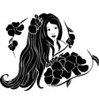 Portrait of beautiful girl in the flowers vector image